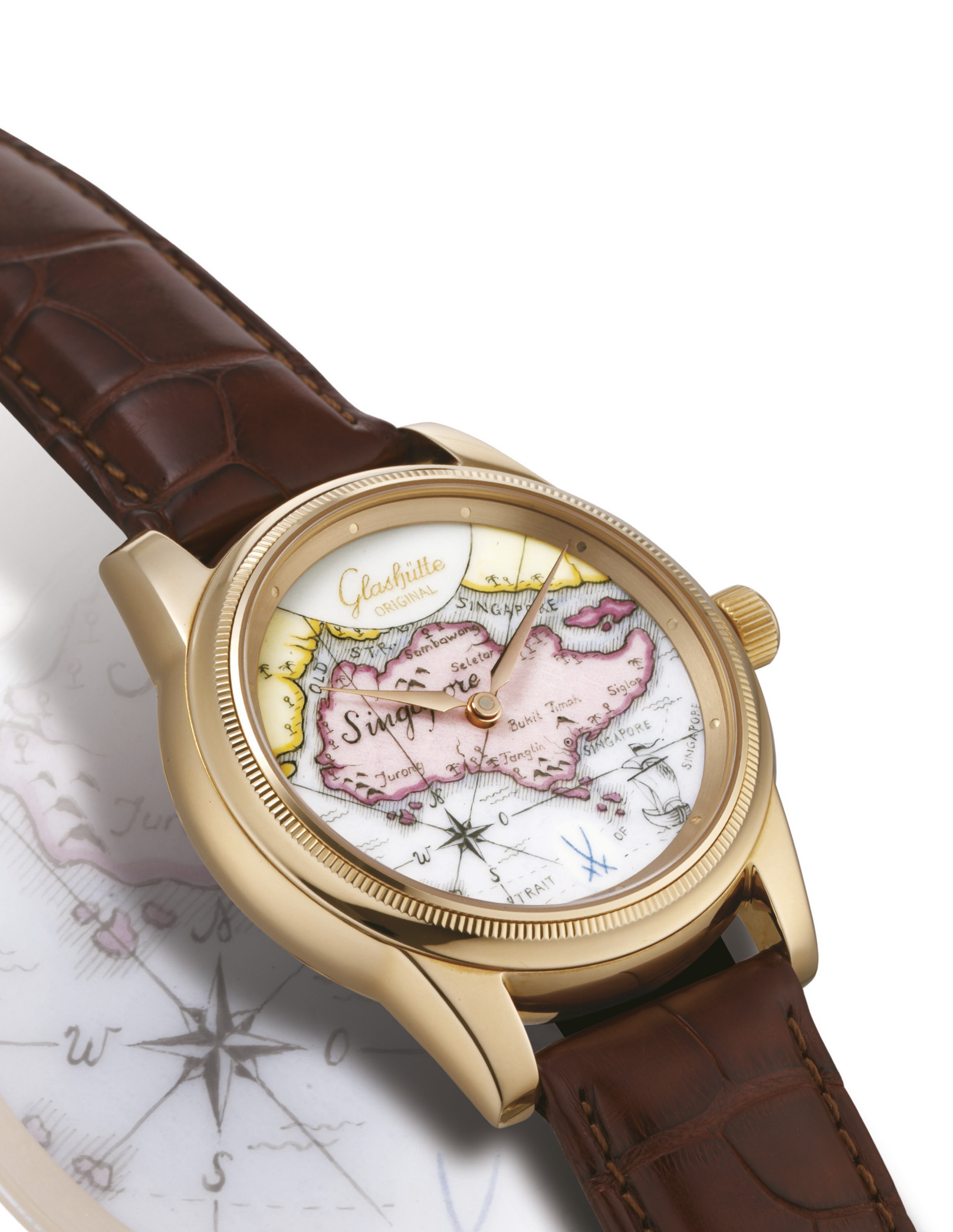 GLASHÜTTE ORIGINAL, SINGAPORE  PINK GOLD MANUALLY-WOUND WRISTWATCH WITH MEISSEN PORCELAIN DIAL, LIMITED EDITION OF 10