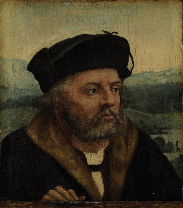 Portrait of a man, bust-length, a landscape beyond