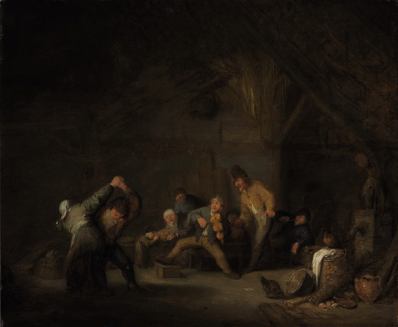 Peasants making music and dancing in a tavern