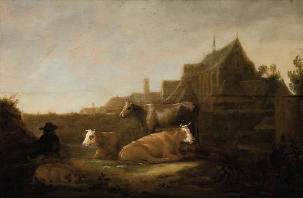 A Herdsman in a field, the Duitsche Huis and Mariakerk, Utrecht beyond