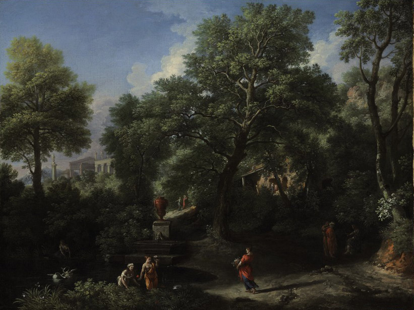 An arcadian landscape with figures, a classical temple beyond