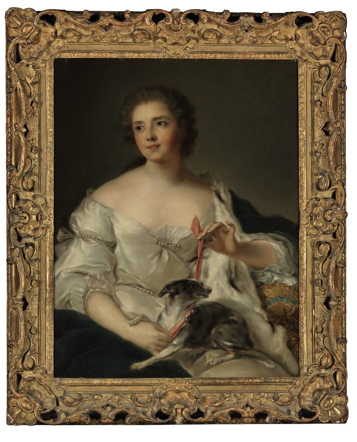 Portrait of Henriette Nicole (née d'Egmont Pignatelli), Duchesse de Luynes (1719-1782), three-quarter length, with her dog