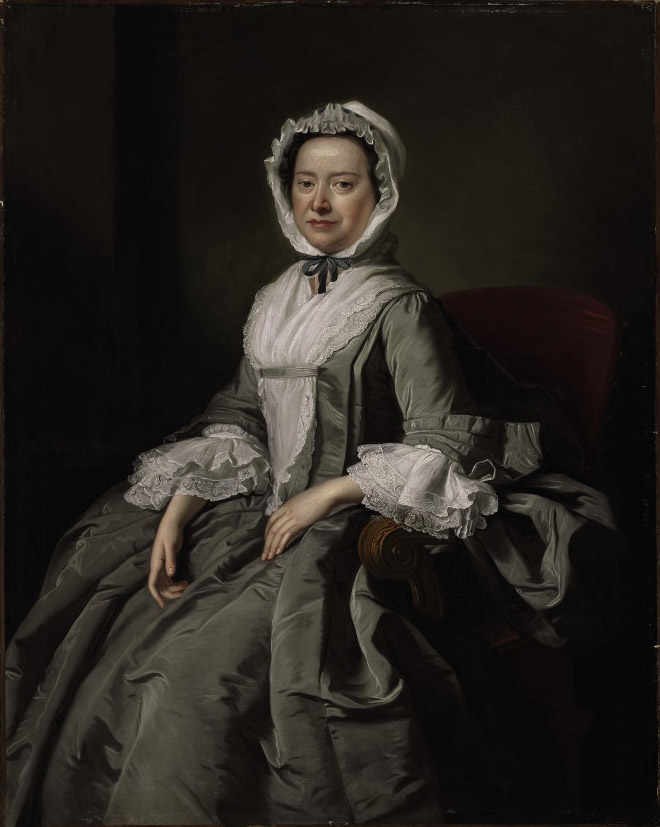 Portrait of a lady, three-quarter length, seated in a grey silk dress and white bonnet