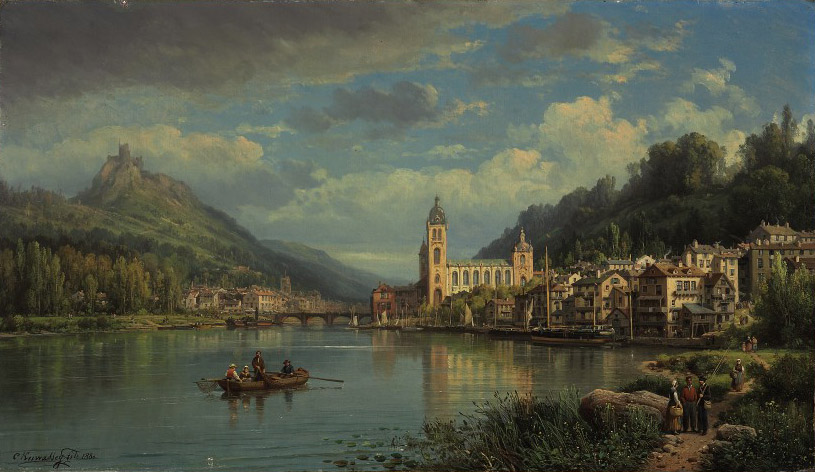 A capriccio river landscape with figures conversing and a town beyond