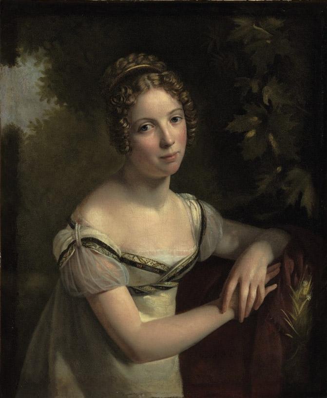 Portrait of a lady in a white silk dress
