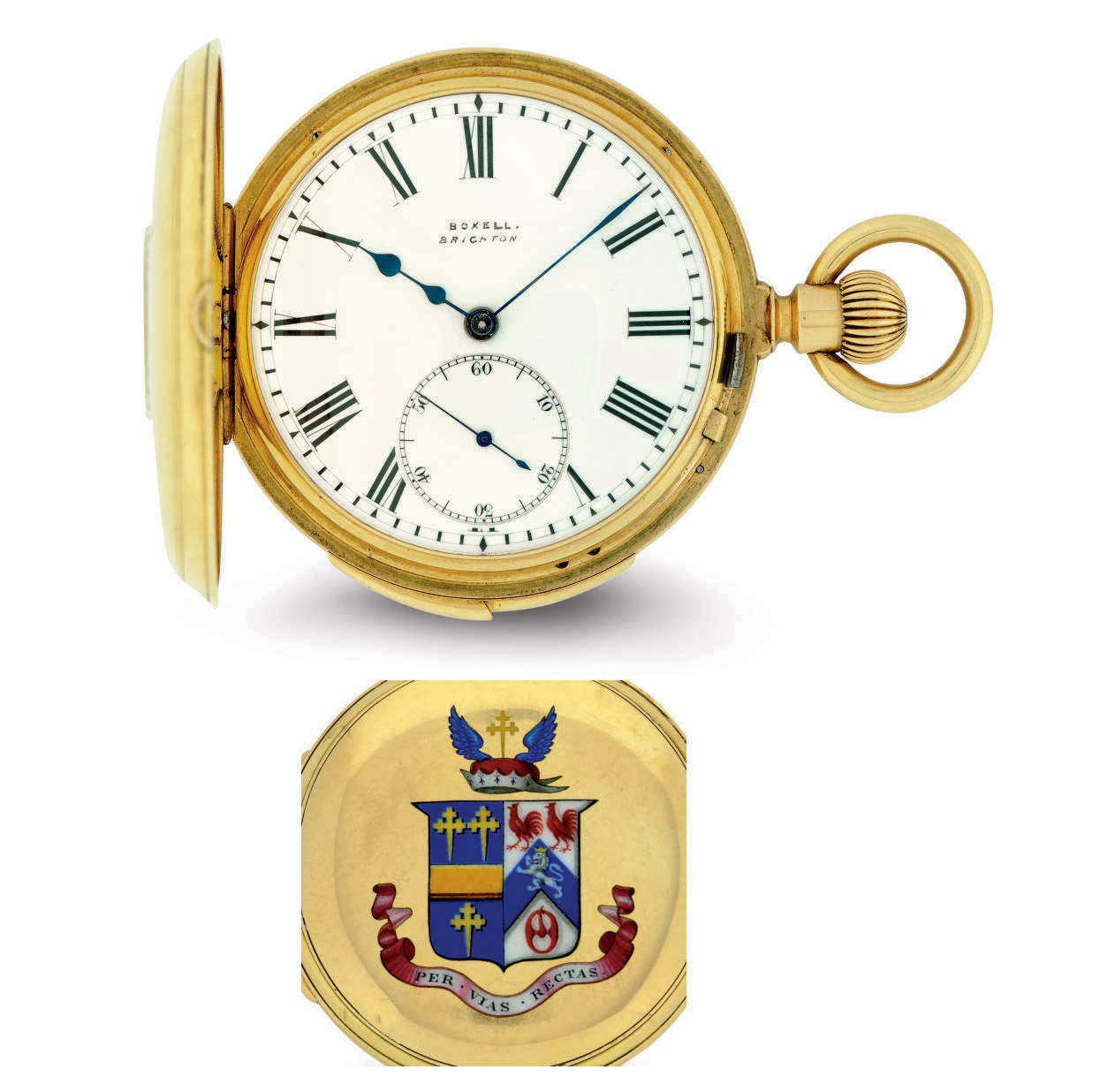 SWISS.  AN 18K GOLD AND ENAMEL MINUTE REPEATING HALF-HUNTER CASE POCKET WATCH