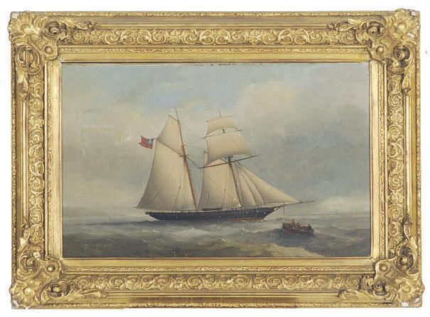 A topsail schooner off the coast