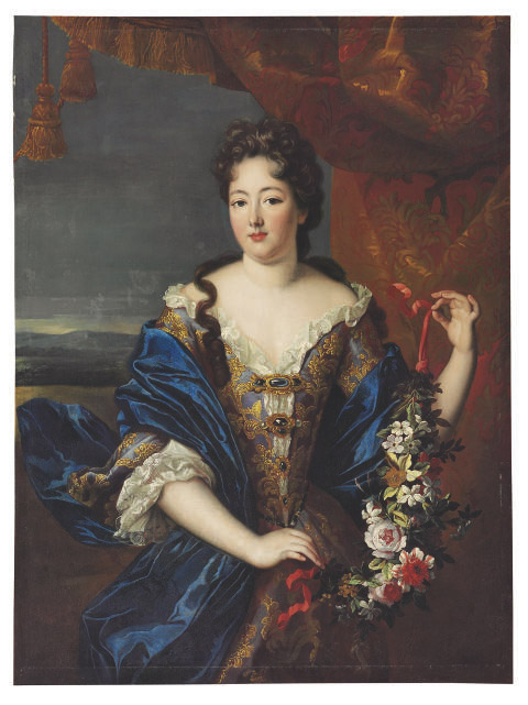 Portrait of a lady, traditionally identified as the Marquise de Montespan, standing three-quarter-length