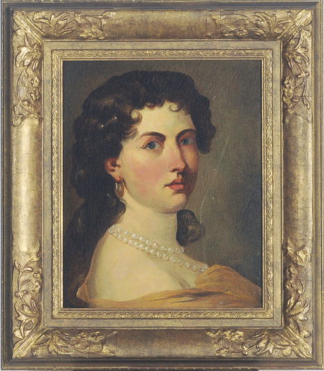 Portrait of a lady wearing a pearl necklace; and a companion portrait of a man by another hand