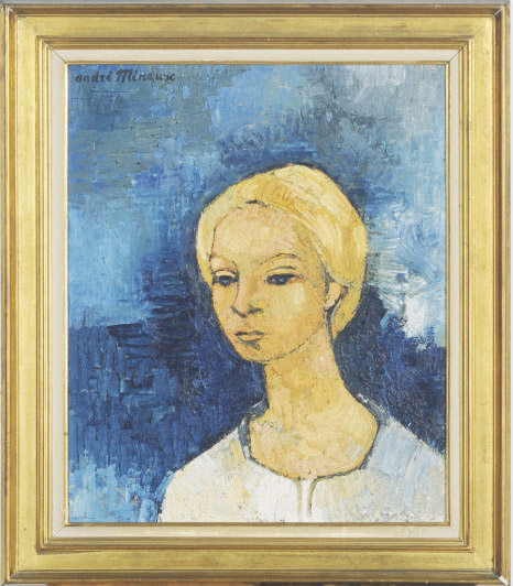 Portrait of a lady against a blue background