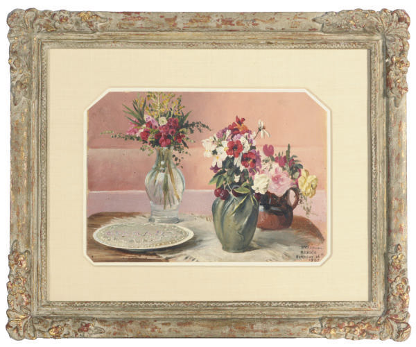 Still life of flowers in vases and a pie