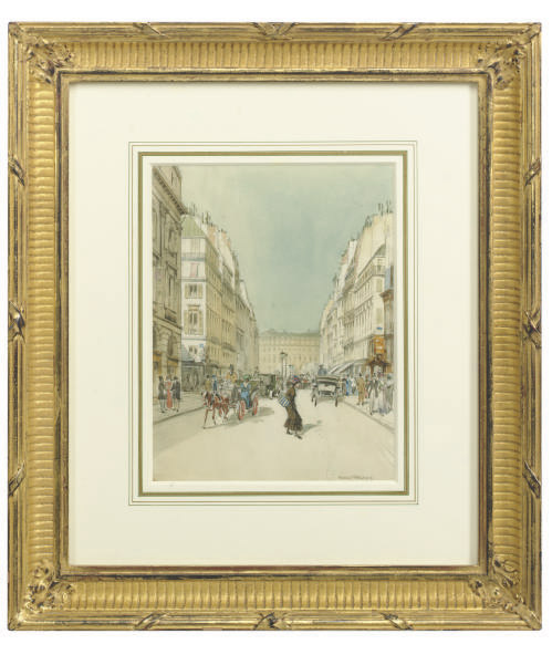 Parisian street scene; and a companion work