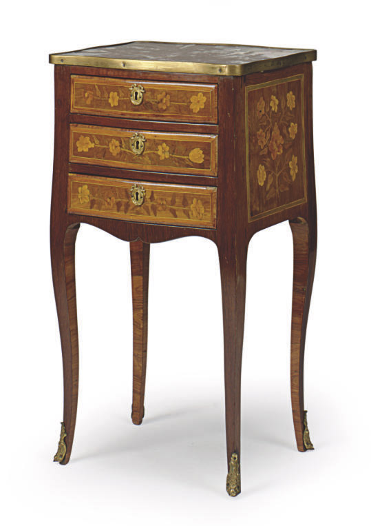 A LOUIS XV AMARYANTH, TULIPWOOD AND MARQUETRY MARBLE-TOP PETITE COMMODE,