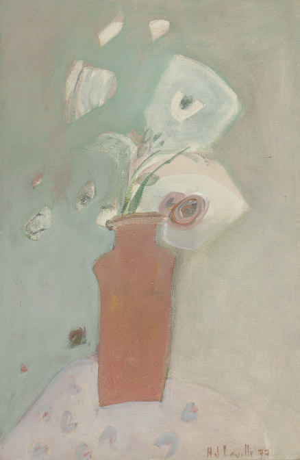 Still life of a red vase with white flowers