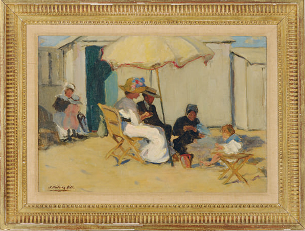 A leisure afternoon on the beach under the umbrella