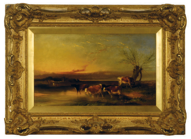 Cattle by a river at sunset; and a companion painting