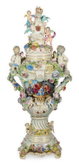 A LARGE GERMAN PORCELAIN FLOWER-ENCRUSTED VASE, COVER AND STAND,