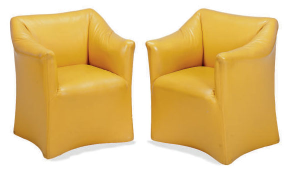 A PAIR OF MUSTARD YELLOW LEATHER-UPHOLSTERED 'TENTAZIONE' ARMCHAIRS,