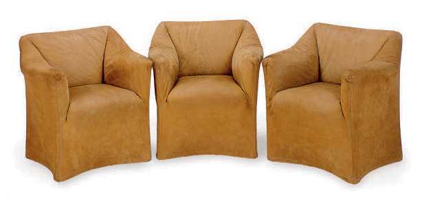 A SET OF THREE TAN SUEDE-UPHOLSTERED 'TENTAZIONE' ARMCHAIRS,