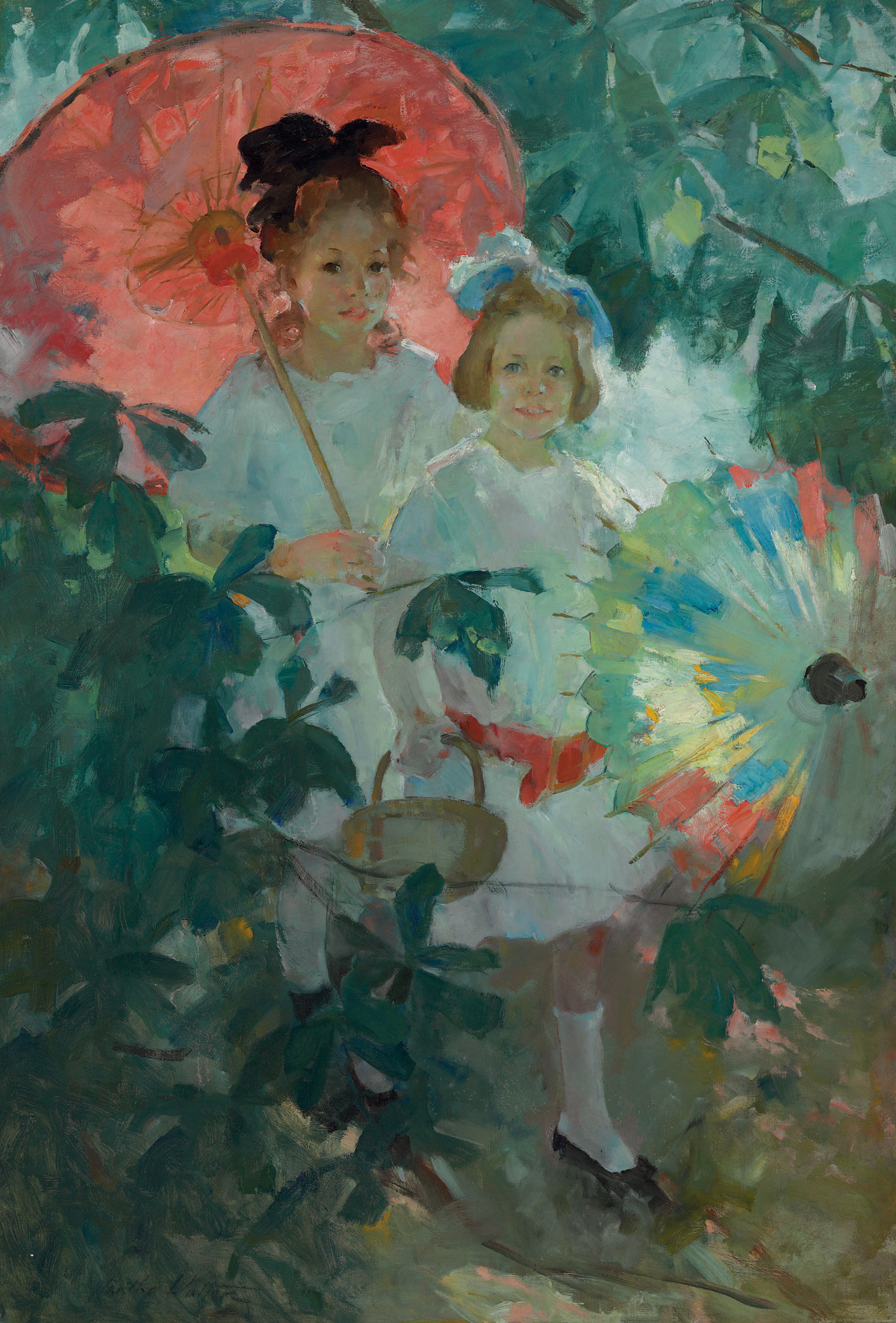 Children with Japanese Parasols