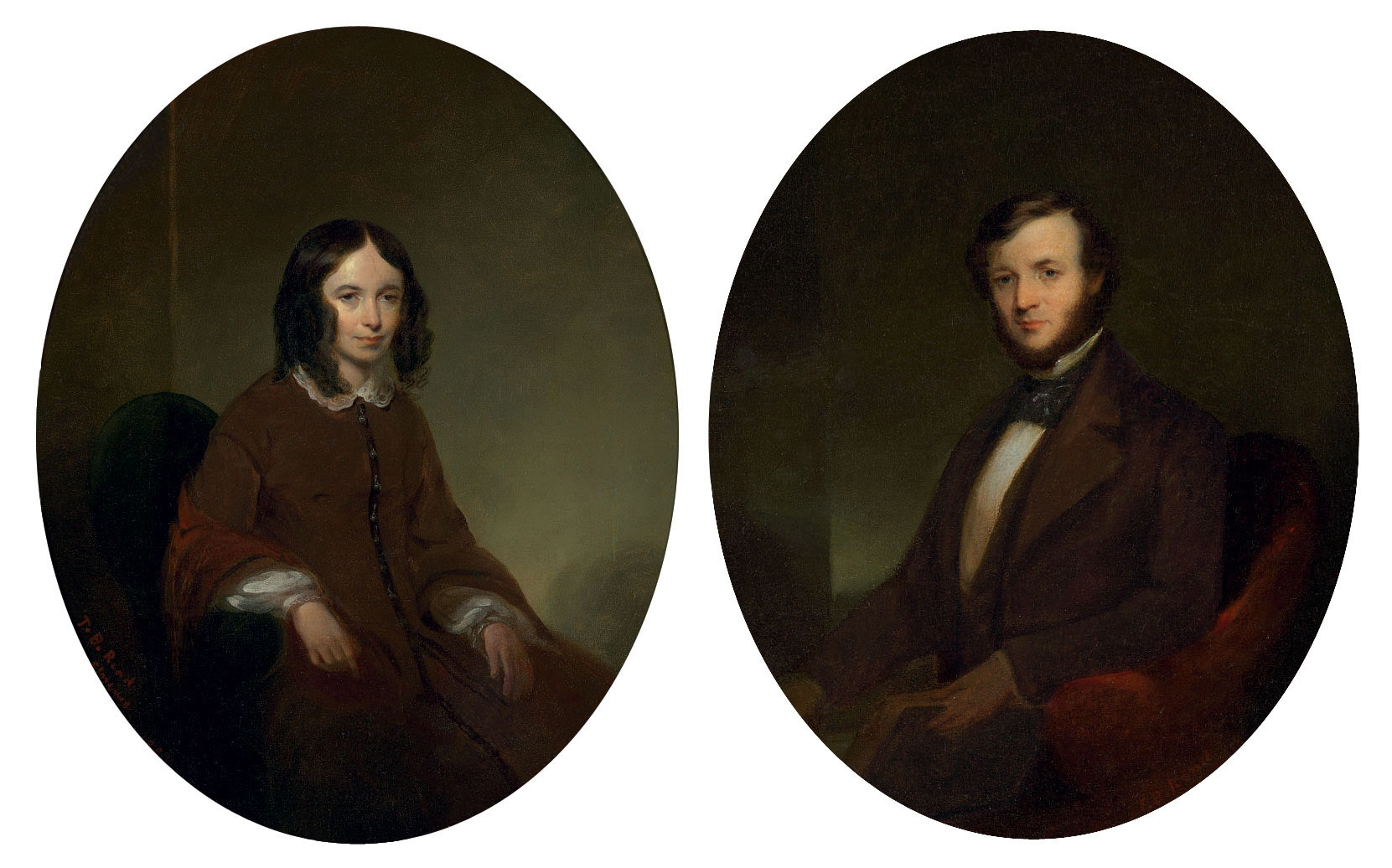 A Pair of Portraits of Elizabeth Barrett Browning and Robert Browning