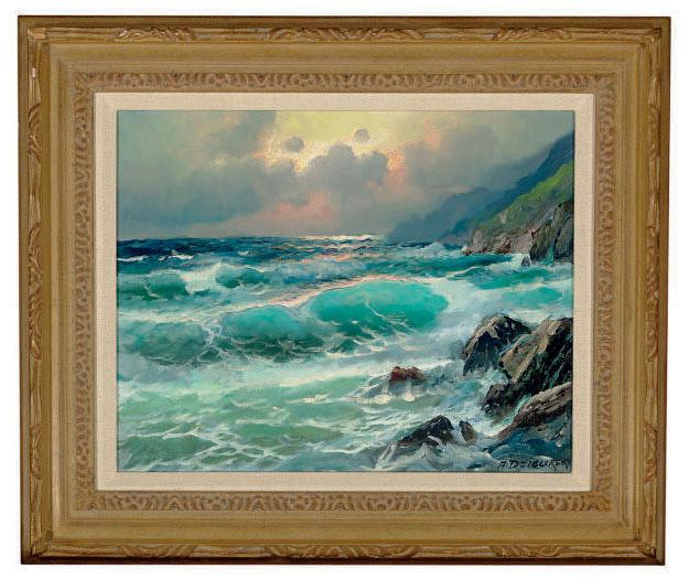 Sunset over the crashing waves