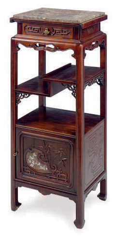 A FRENCH MOTHER-OF-PEARL-INLAID MAHOGANY AND MARBLE TOP ETAGERE,