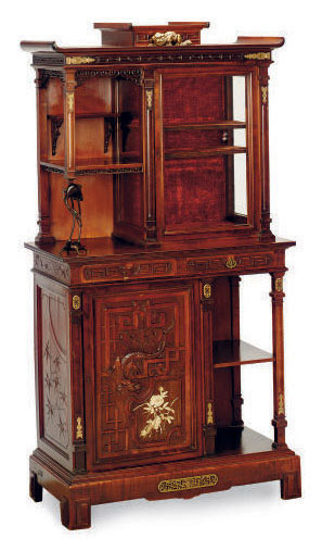 A FRENCH GILT-METAL AND PATINATED-BRONZE-MOUNTED AND IVORY-INLAID MAHOGANY VITRINE CABINET,