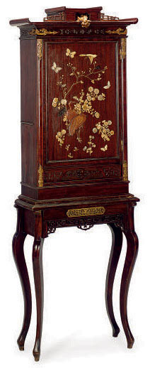 A FRENCH ORMOLU-MOUNTED AND IVORY-INLAID MAHOGANY CABINET-ON-STAND,