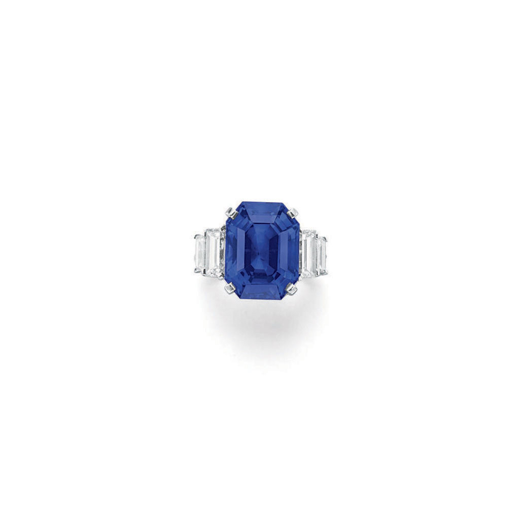A SAPPHIRE AND DIAMOND RING, BY CARVIN FRENCH