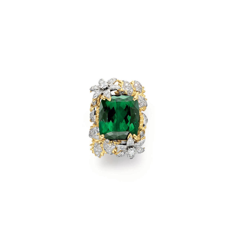 A GREEN TOURMALINE AND DIAMOND RING, BY BIELKA