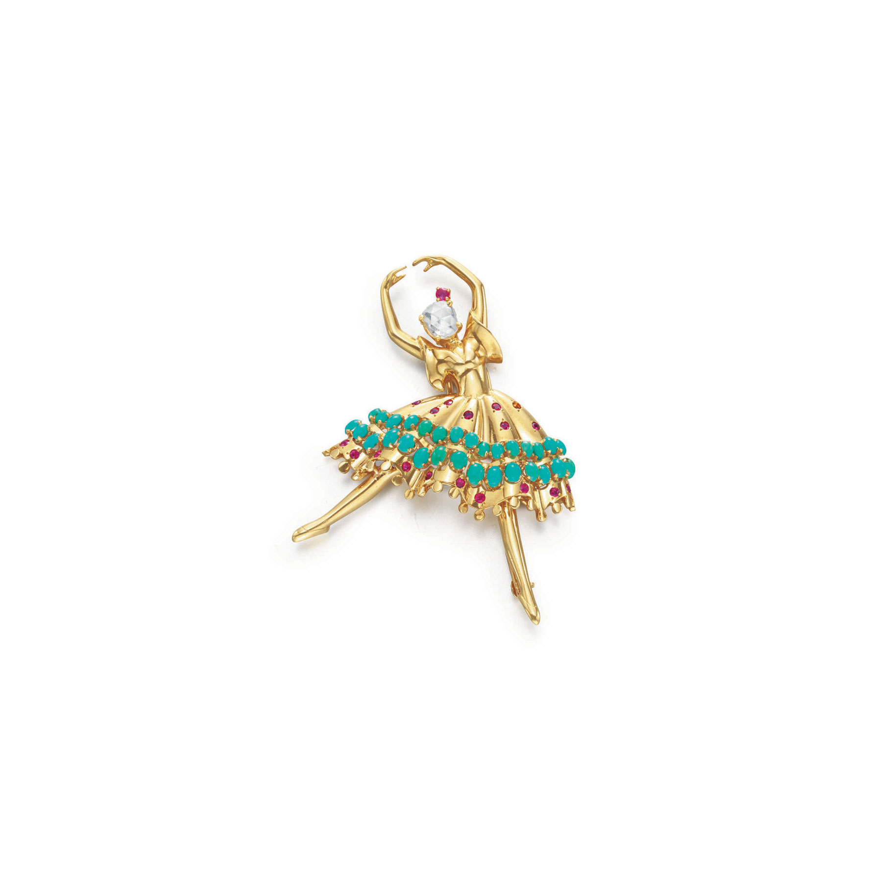 A RETRO GOLD, DIAMOND, RUBY AND TURQUOISE BALLERINA BROOCH, BY JOHN RUBEL CO.