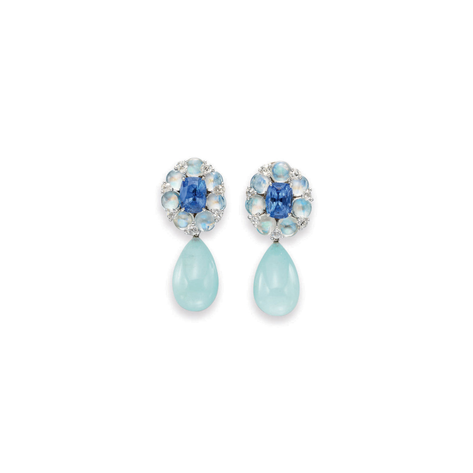 A PAIR OF DIAMOND, SAPPHIRE AND MOONSTONE EAR PENDANTS, BY TAFFIN