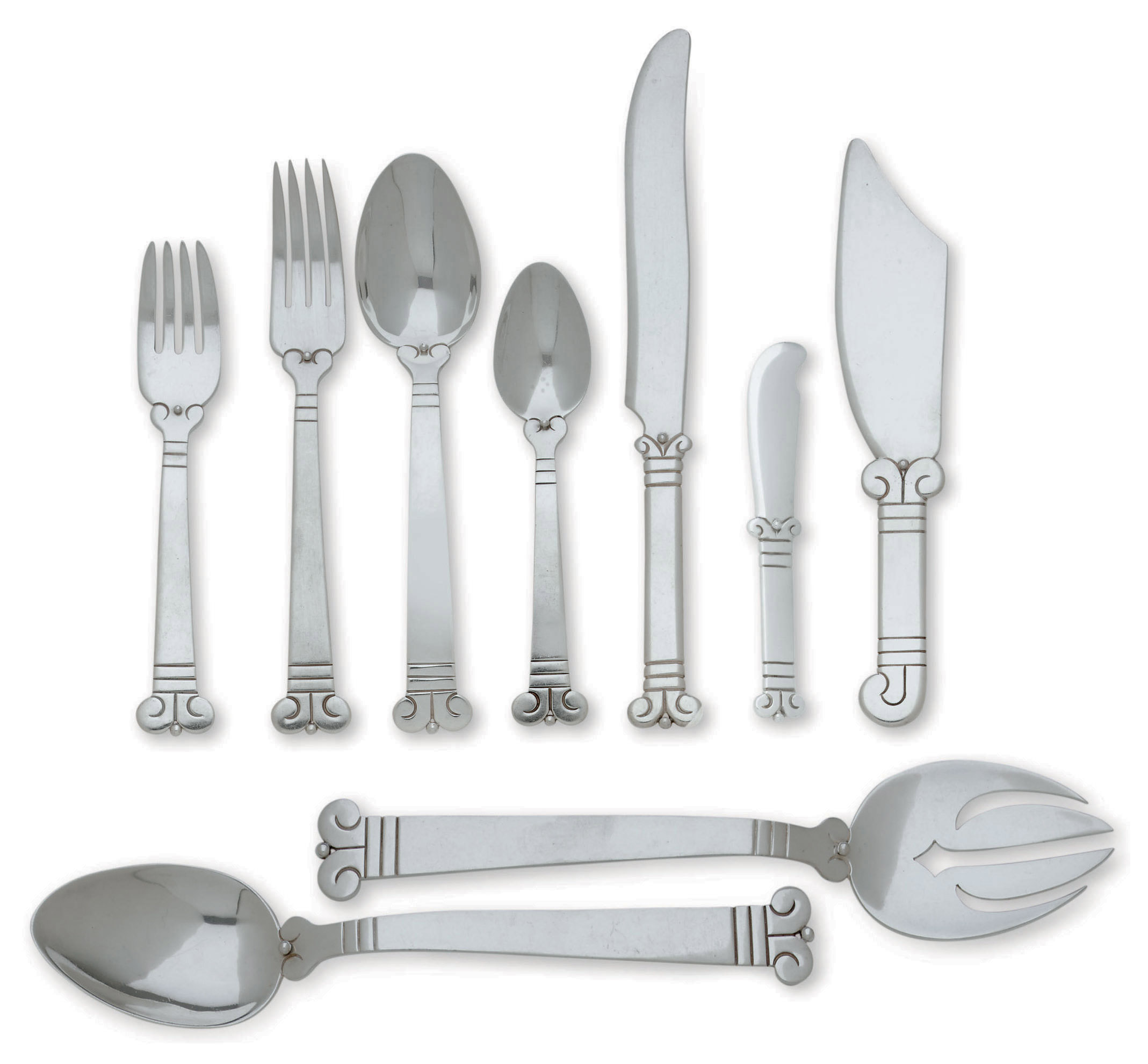AN ASSEMBLED MEXICAN SILVER FLATWARE SERVICE