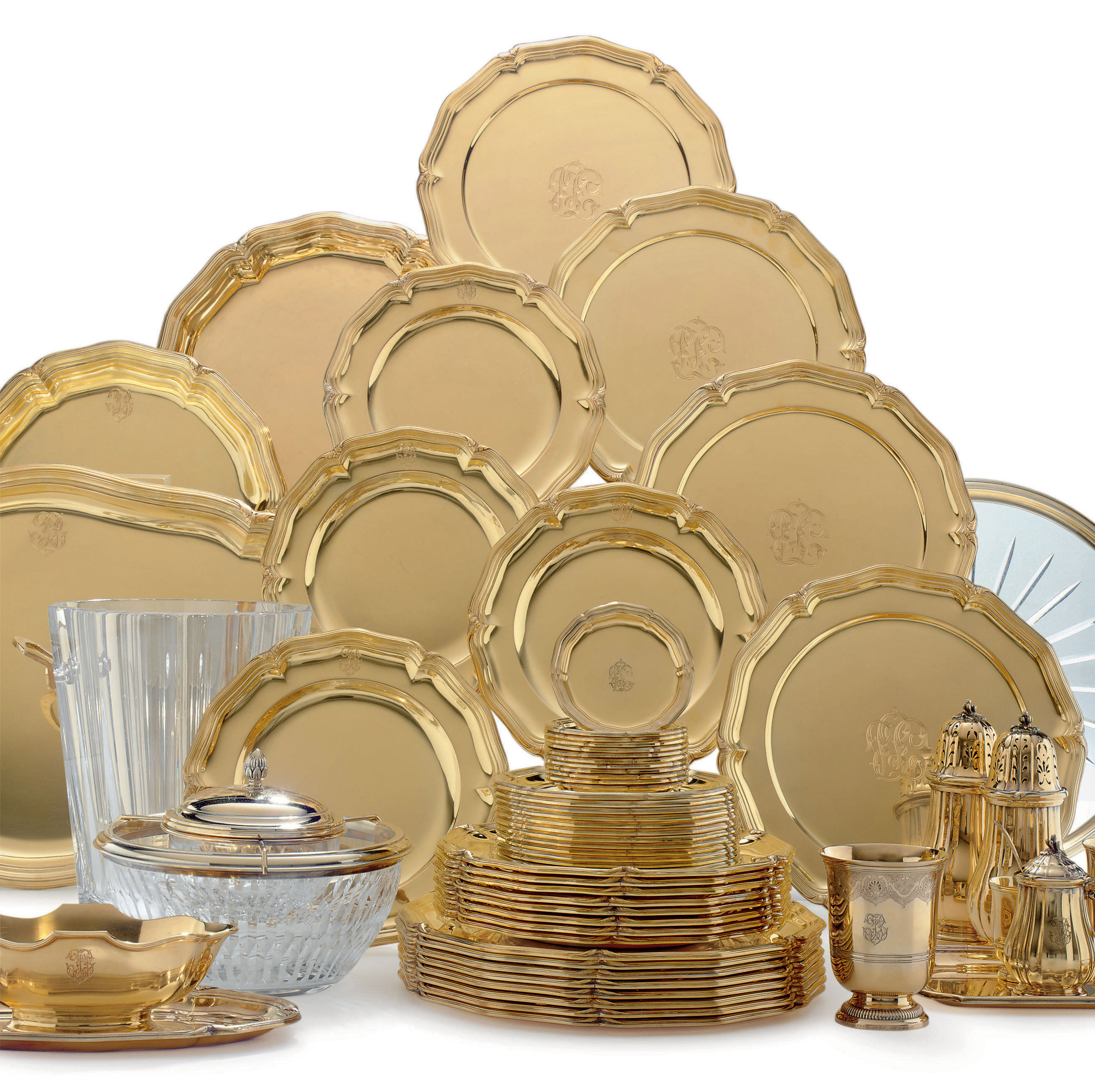 A FRENCH SILVER-GILT DINNER SERVICE