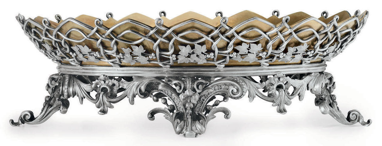 A FRENCH SILVER-PLATED CENTERPIECE BOWL
