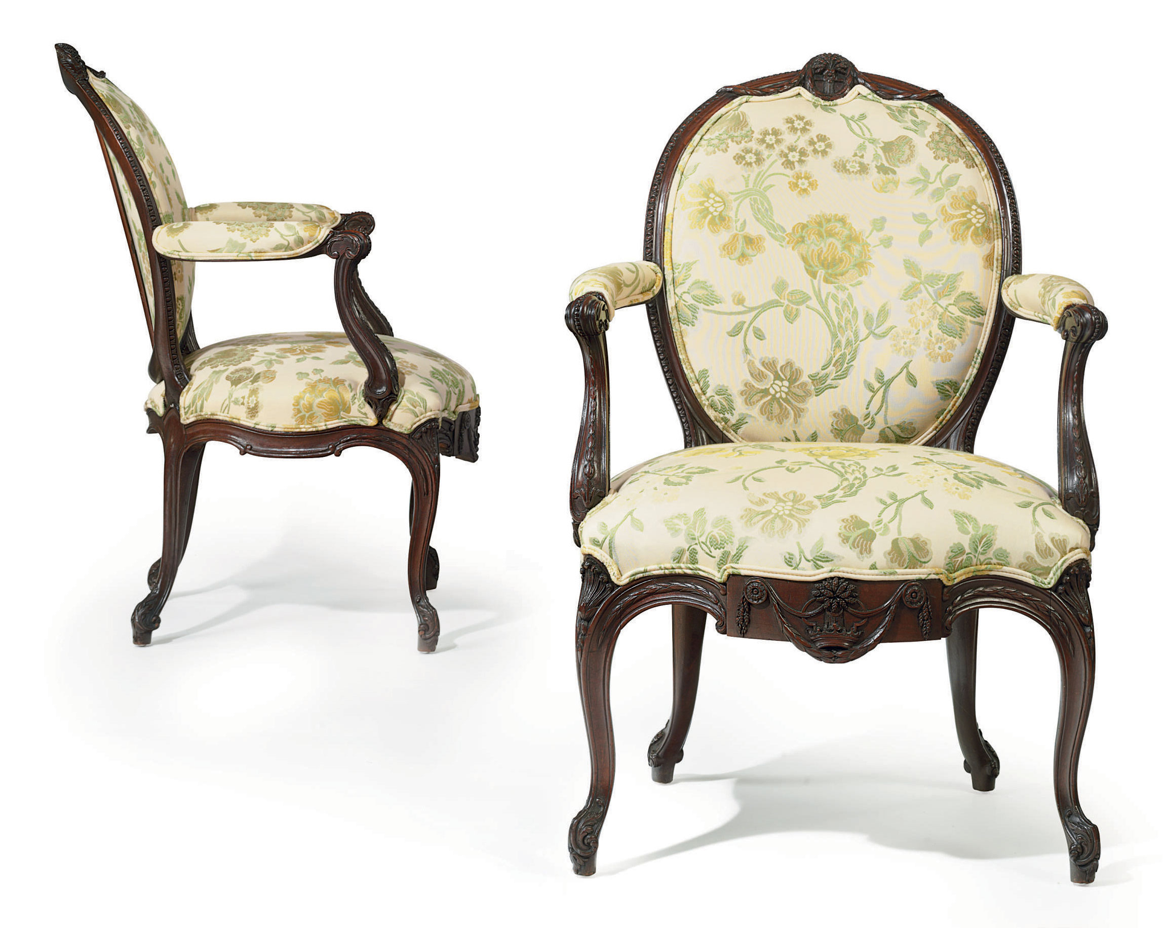 A PAIR OF GEORGE III SOLID MAHOGANY ARMCHAIRS