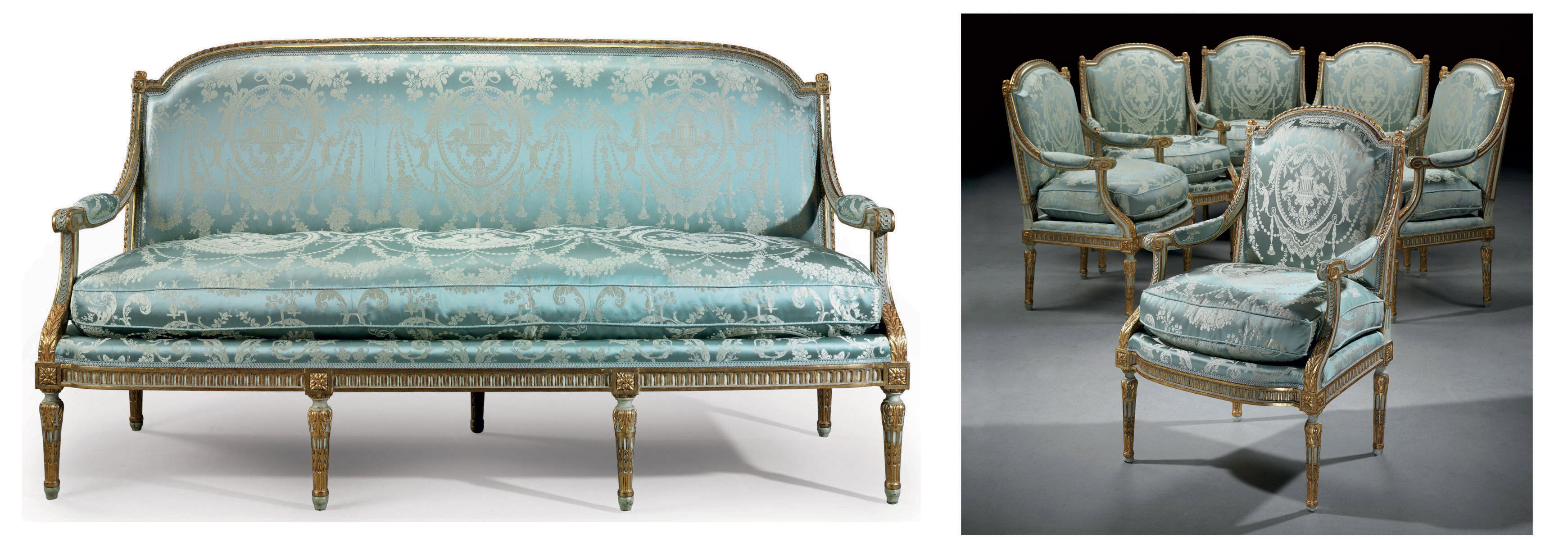A SUITE OF LOUIS XVI WHITE-PAINTED AND PARCEL-GILT SEAT FURNITURE