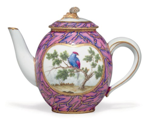 a sevres porcelain rose marbre teapot and cover theiere 39 calabre 39 5 e m e grandeur blue. Black Bedroom Furniture Sets. Home Design Ideas