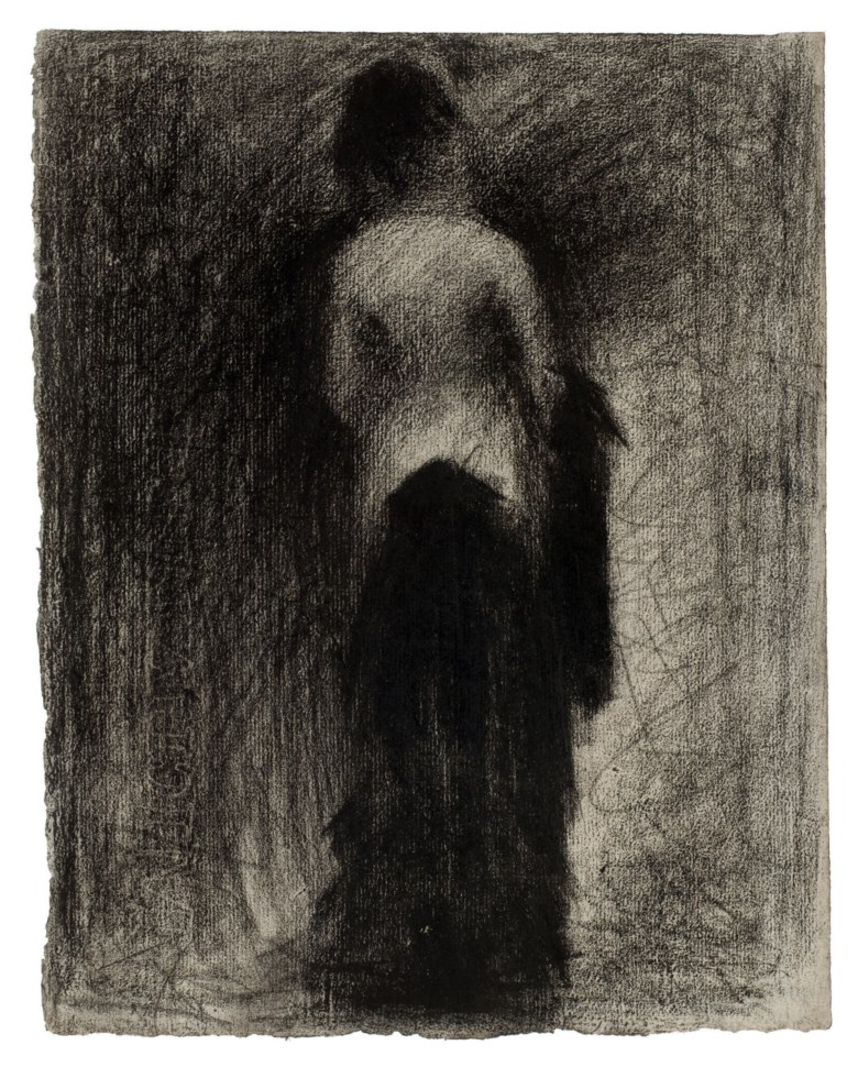 Georges Seurat (1859-1891), La Promenade, drawn circa 1882. Black Conté crayon on paper. 12¼ x 9⅝  in (30 x 21  cm). Sold for $3,330,500 on 3 November 2010  at Christie's in New York