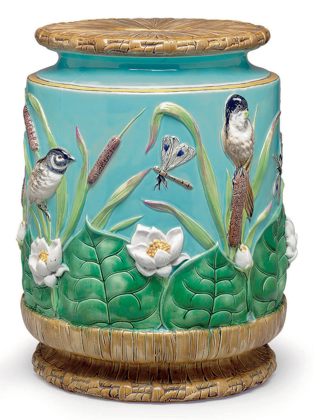 A GEORGE JONES TURQUOISE-GROUND MAJOLICA GARDEN SEAT