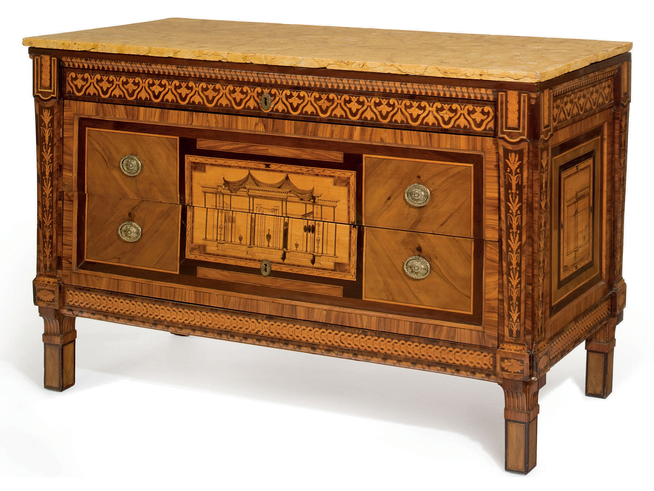 A NORTH ITALIAN OLIVEWOOD, AMARANTH, ROSEWOOD AND MARQUETRY COMMODE