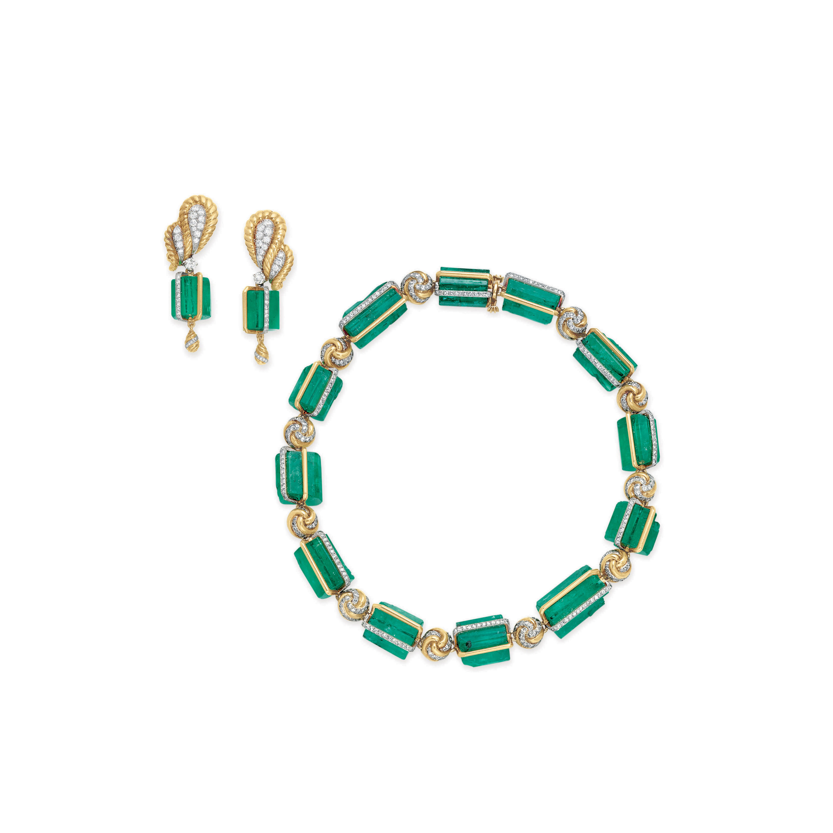 A STRIKING SUITE OF EMERALD BEAD, DIAMOND AND GOLD JEWELRY, BY VERDURA