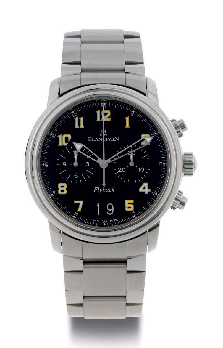 BLANCPAIN.  A LIMITED EDITION STAINLESS STEEL FLYBACK CHRONOGRAPH WRISTWATCH WITH DATE AND BRACELET
