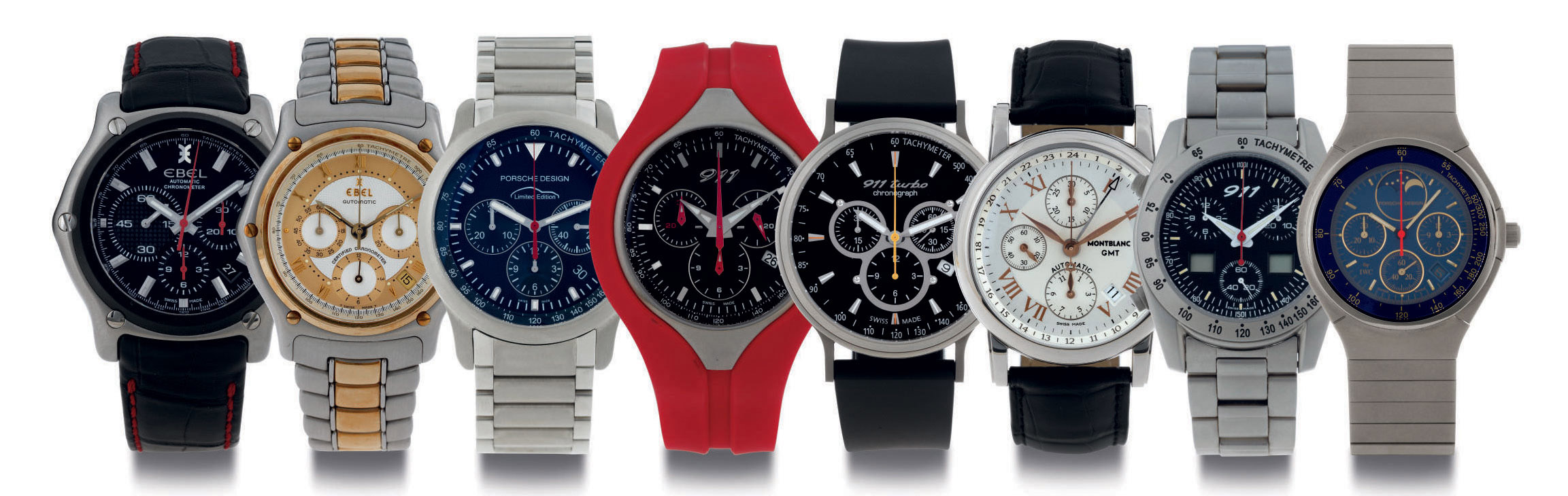 A GROUP LOT OF EIGHT CHRONOGRAPH WRISTWATCHES