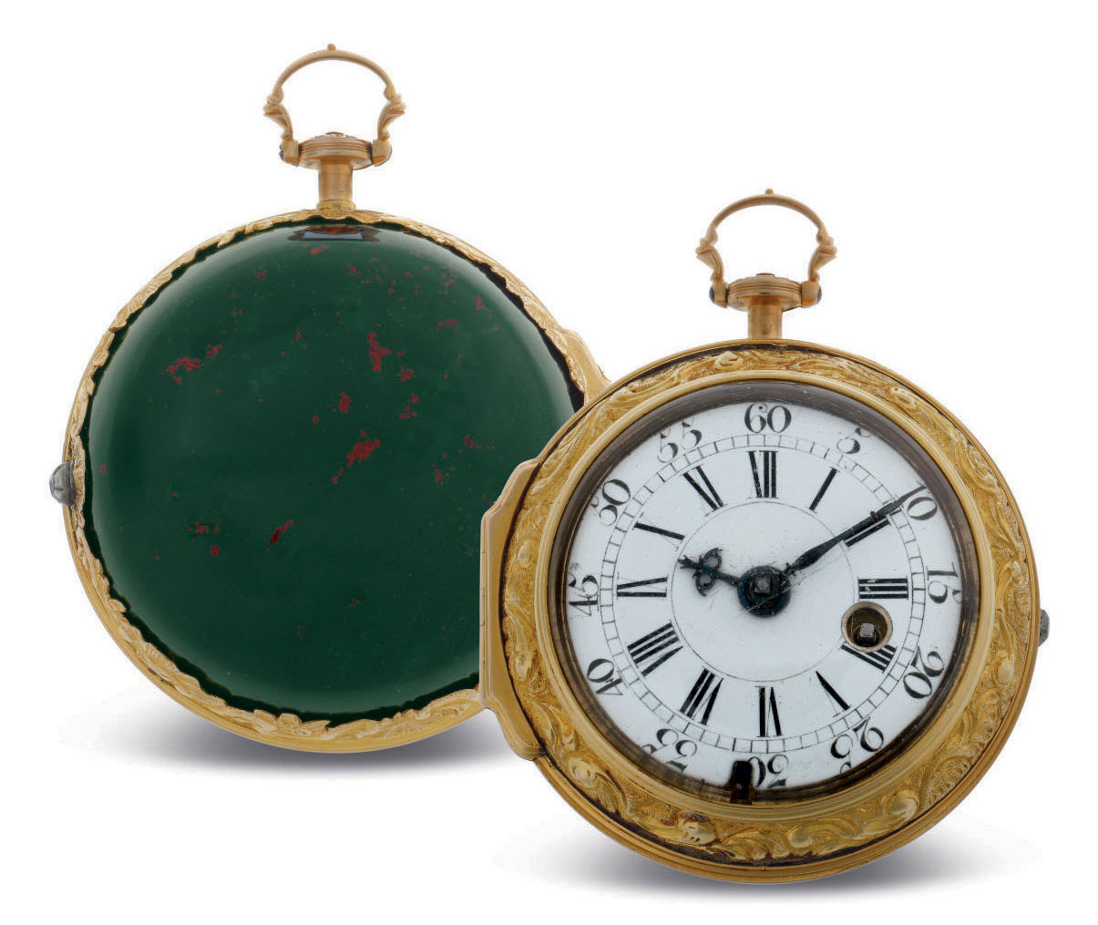 L. BIGGS. A GOLD CONSULAR-CASED VERGE WATCH WITH BLOODSTONE BOWL