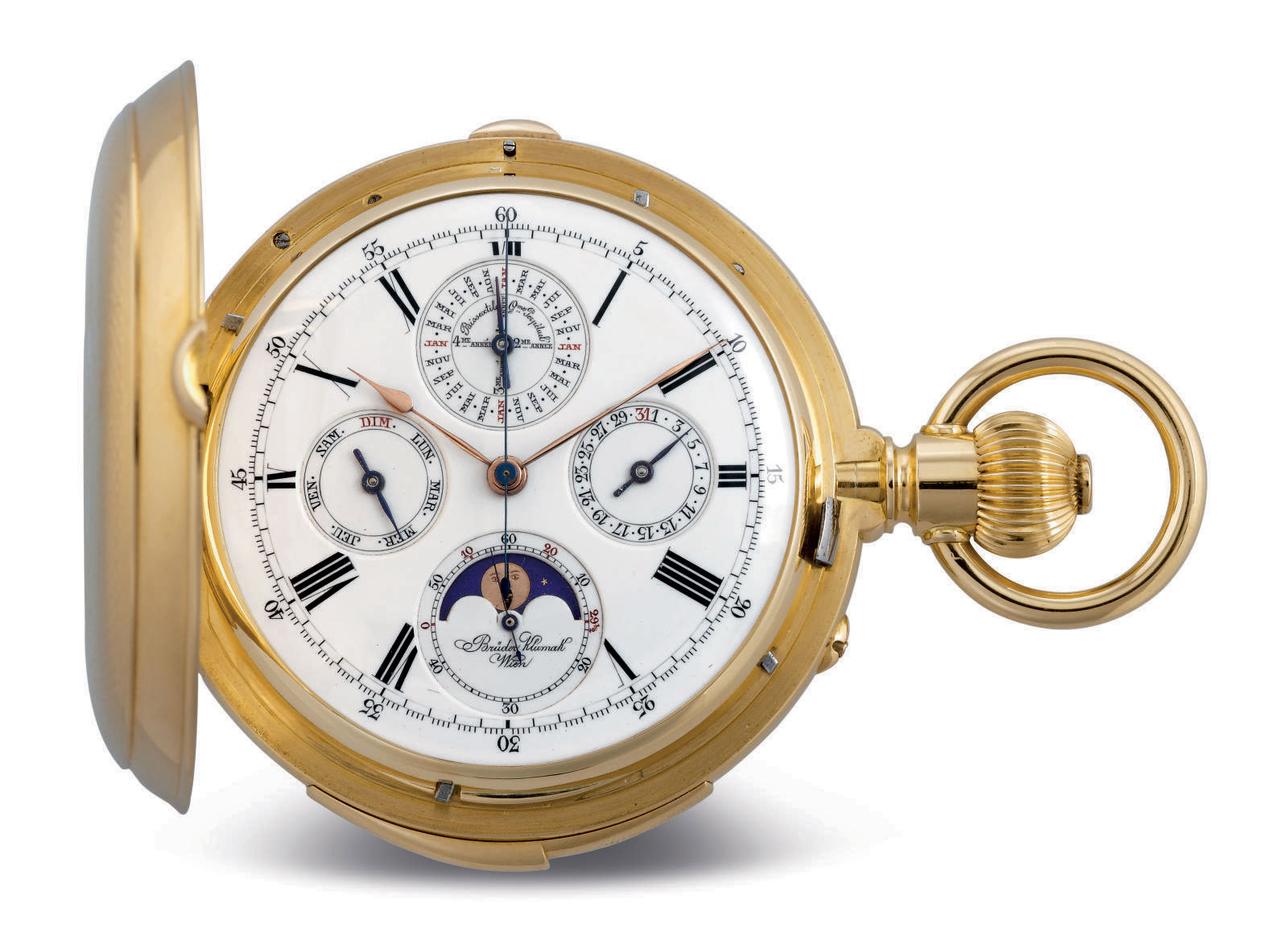 CHARLES FÉLICIEN TISSOT. A FINE AND RARE 18K GOLD HUNTER CASE MINUTE REPEATING PERPETUAL CALENDAR CHRONOGRAPH KEYLESS LEVER WATCH WITH MOON PHASES
