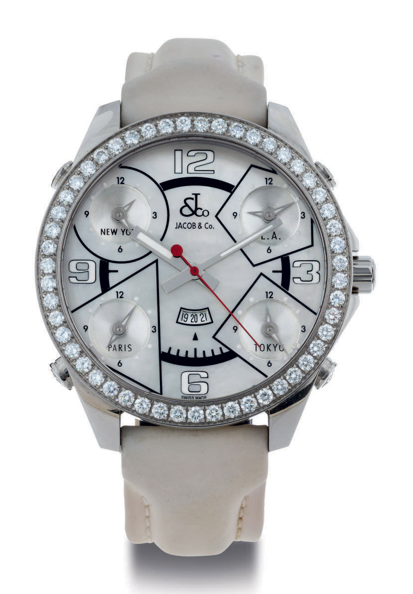JACOB.  A STAINLESS STEEL, DIAMOND AND MOTHER-OF-PEARL FIVE TIME ZONE QUARTZ WRISTWATCH WITH DATE