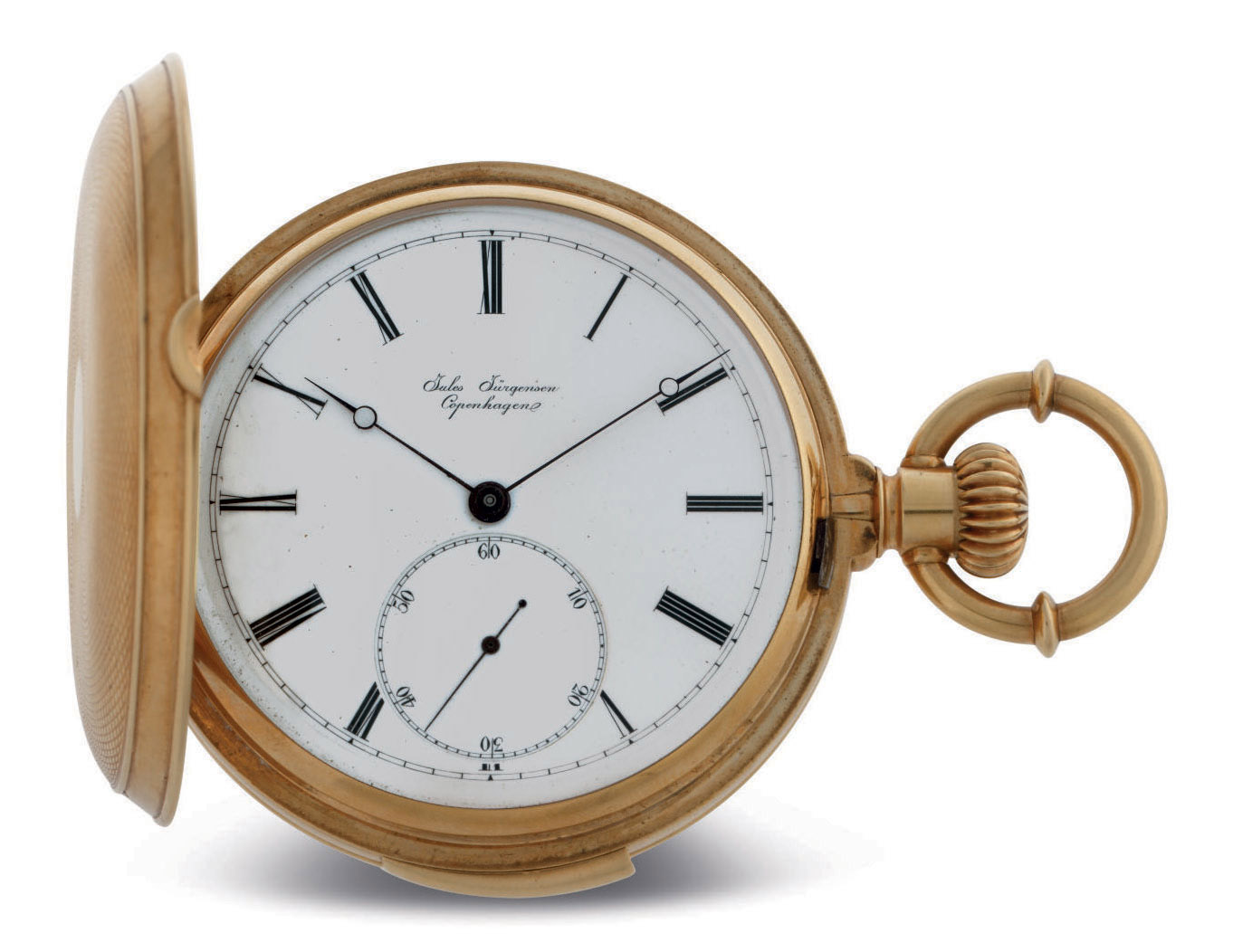 JULES JÜRGENSEN. AN 18K GOLD HUNTER CASE MINUTE REPEATING KEYLESS LEVER POCKET WATCH WITH PATENTED BOW SETTING