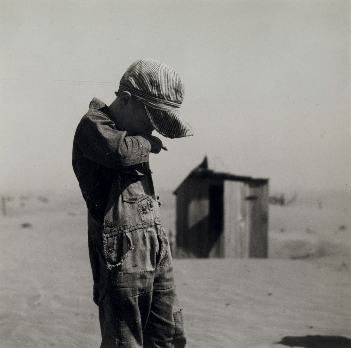 Dust is too much for the son of a farmer in Cimarron Co., Okla., 1933